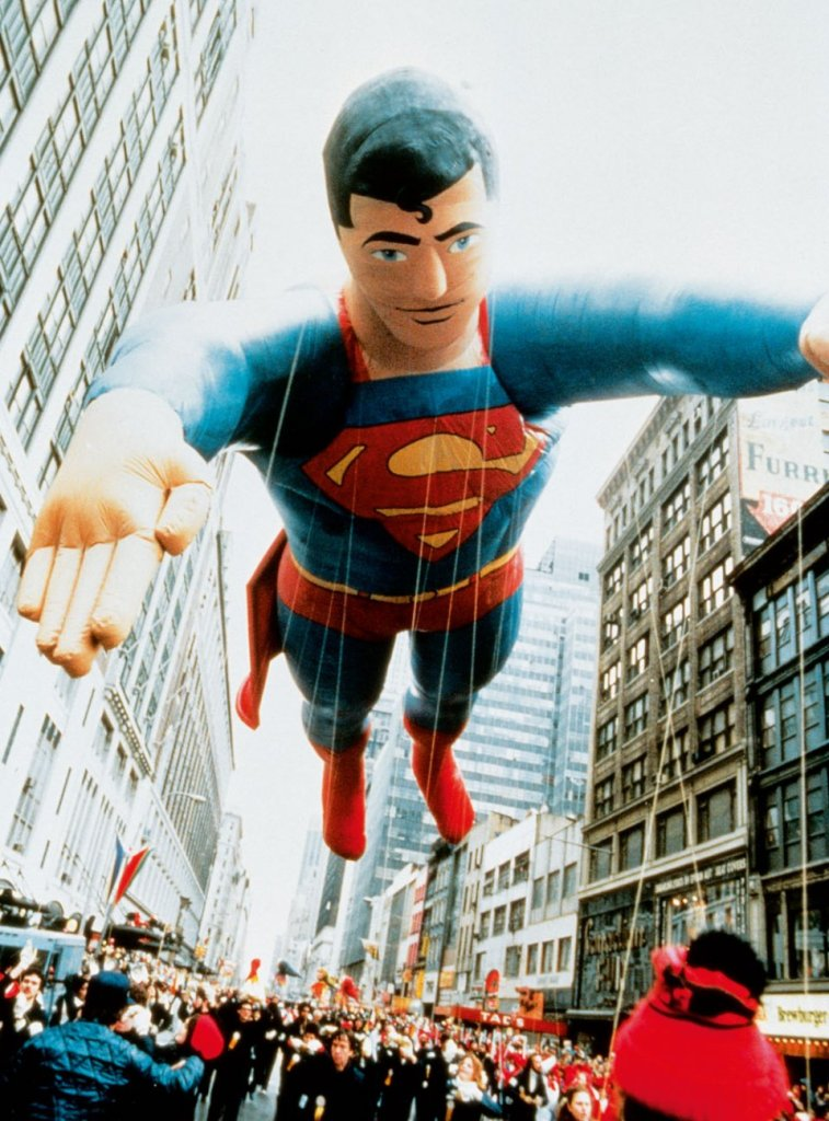MACY'S THANKSGIVING DAY PARADE Photograph, Superman balloon, New York City, Thanksgiving ca. 1982. © DC Comics