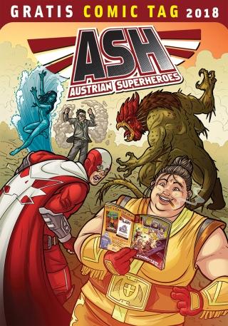 """Die Comicserie """"ASH – Austrian Superheroes"""" wurde 2015 durch Crowdfunding finanziert und 2016 gestartet. Seit 2017 erscheinen die Hefte regelmäßig alle zwei Monate und haben bereits viele Fans in Österreich, Deutschland, aber auch anderen Länder gefunden. Es sind auch bereits zwei Trade-Paperbacks in Zusammenarbeit mit dem deutschen Verlag Cross Cult erschienen Das Ziel ist dabei ein eigenes europäisches Mainstream-Superhelden-Universum zu schaffen: die aktuelle Storyline in der Hauptstory der Hefte wird dabei durch zahlreiche Nebengeschichten ergänzt, die stückweise mehr über die Charaktere, aber auch den Background der europäischen Superhelden der letzten 70 Jahre und insbesondere des Kalten Krieges verraten. Seit Herbst 2017 wird der Titel durch eine zweite Serie namens """"LDH – Liga deutscher Helden"""" ergänzt, der die Bandbreite des Superhelden-Kosmos um zahlreiche neue (deutsche) Helden und Hintergrundgeschichten erweitert. Hinter den Heft-Serien stehen eine ganze Reihe von Künstlern und Autoren, österreichische bei ASH, deutsche bei LDH. Insgesamt haben bis jetzt über 20 Zeichner und Zeichnerinnen an dem Projekt mitgearbeitet. Dabei versucht das Team sowohl von den Storys und dem Artwork her als auch dem qualitativ hochwertigen Druck denselben Look und Feel zu bieten wie die großen amerikanischen Vorbilder. Und denselben Spaß! Von Thomas Aigelsreiter, Jan Dinter, Stefan Dinter, Martin Frei, Harald Havas, Oliver Naatz, Andi Paar u.a. Nach der Überwindung des unheimlichen Basilisken sieht sich das gerade erst zusammengewürfelte Team der Neuen Wiener Wächter bestehend aus Captain Austria Junior, Donauweibchen, Lady Heumarkt und dem Bürokrat einer neuen Gefahr gegenüber. Durch einen Unfall wird einer aus dem eigenen Team zur unvermuteten und gewaltigen Bedrohung! Die Hauptstory ist ein Reprint des Hefts ASH #5, ergänzt um zwei weitere Kurzgeschichten. In der einen verbringt Lady Heumarkt einen vergnüglichen Bummel bei ihrem Freund Gamsbart in München. In der anderen """
